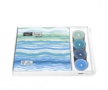 1 Combibox napkin and tea light  Blue waves 20 Serv. 33x33 + 4x TeelichterKlarsichtbox