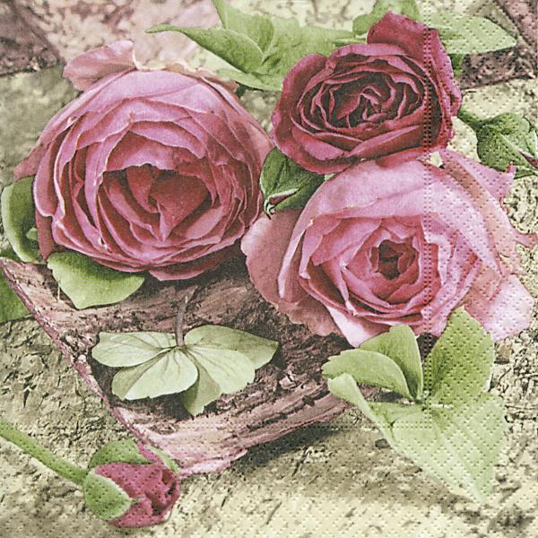 20 Servietten 33 X 33 Cm Rosen Blumen Geburtstag Vintage Blumenmotiv