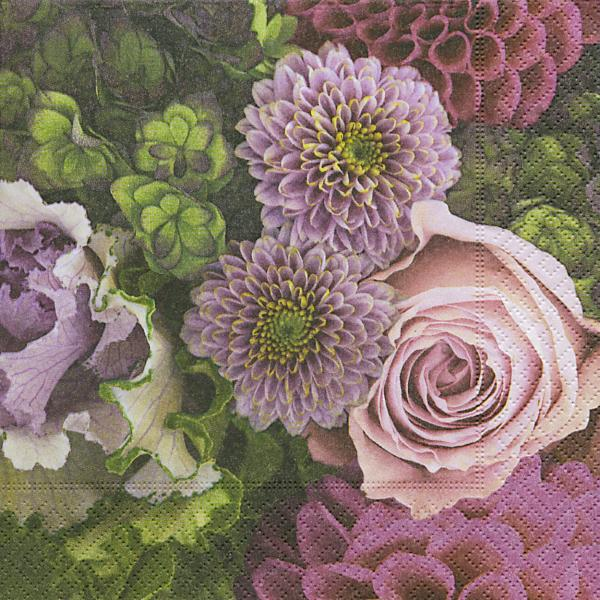 20 Servietten 33 X 33 Cm Herbst Dahlien Rosen Blumen Garten