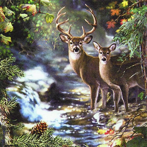 20 Servietten 33x33 Cm Tiere Im Herbst Reh Waldtiere Hirsch Jagdmotiv