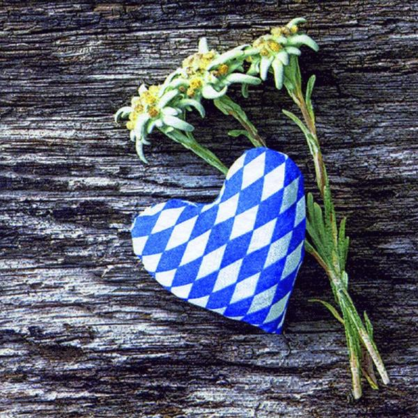 20 napkins edelweiss to heart Oktoberfest Bavarian diamond 33cm