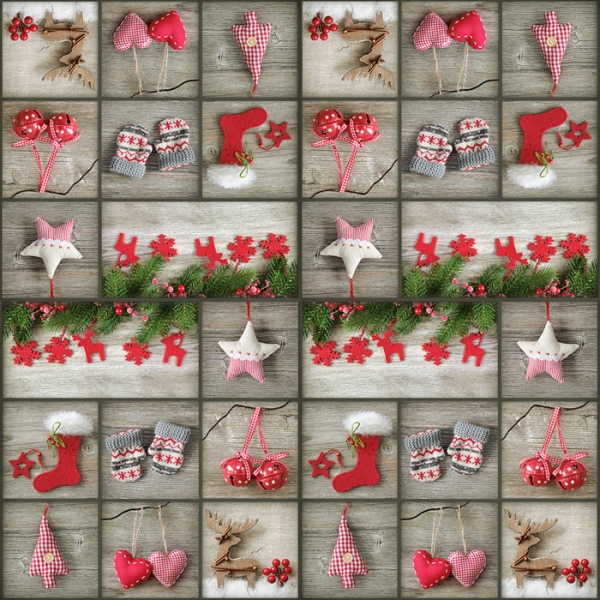 20 Servietten 33x33 cm Weihnachten Winter Advent Geschenke Patchwork Party Fe...
