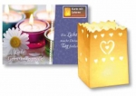 Folding postcard with lantern motif heart